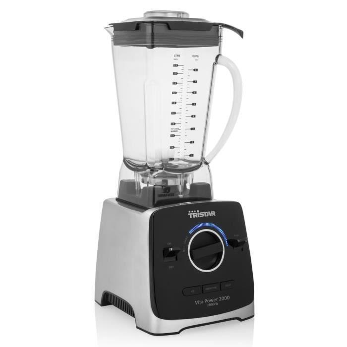 Tristar Robot de cuisine patissier multifonction - Mélangeur BL-4473 Vita Power 2000 W Noir et argenté☻5653