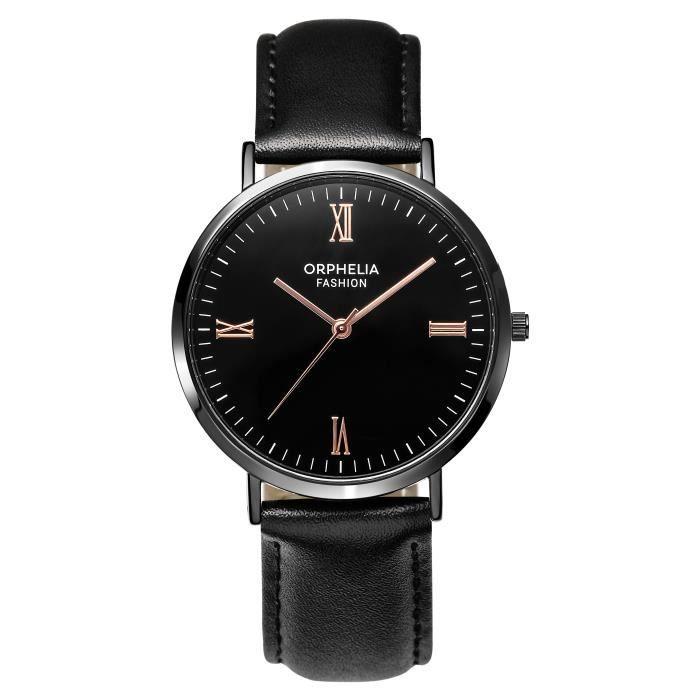 Orphelia Fashion - Montre Hommes - Quartz - Analogique - Bracelet en Cuir - Noir - OF761802