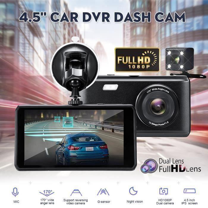 4.5'' 1080P DVR Dashcam Caméra Recul Srrière Vision Nocturne Double Lentille Kit Top56400