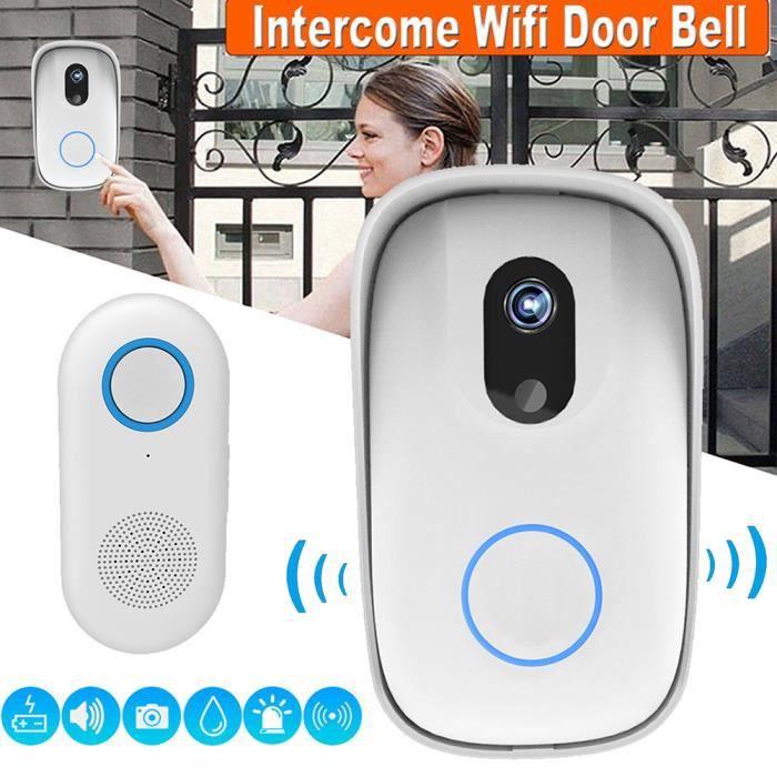 Sonnette Sans Fil Caméra Exterieur Etanche Vidéo Wi-Fi Interphone Sécurité du Moniteur Intercom 10