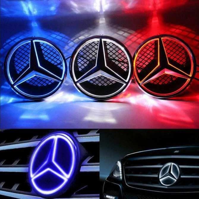CNEST (Couleur blanche) Emblème lumineux lumineux illuminé Logo Grille LED Badge avant pour Mercedes Benz