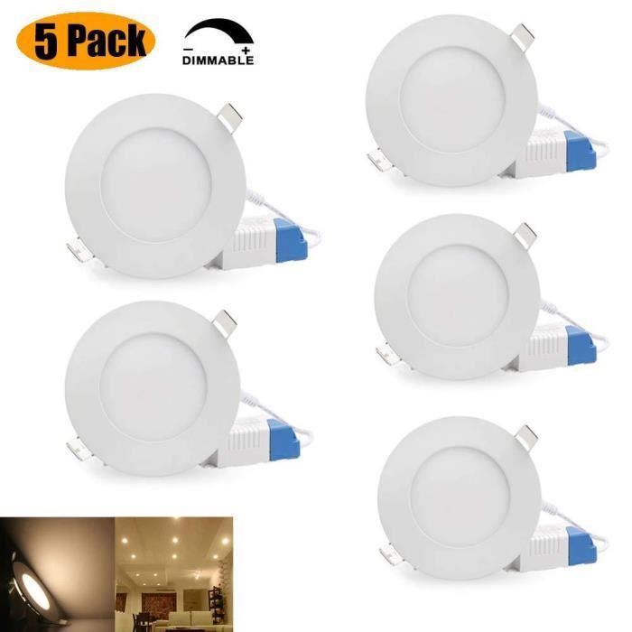 Spots LED Encastrés Encastrables Plafonnier Dimmable Ronds et Extra Plat 6W 480 Lumen, AC 85V-265V Éclairage Plafond Encastré pour