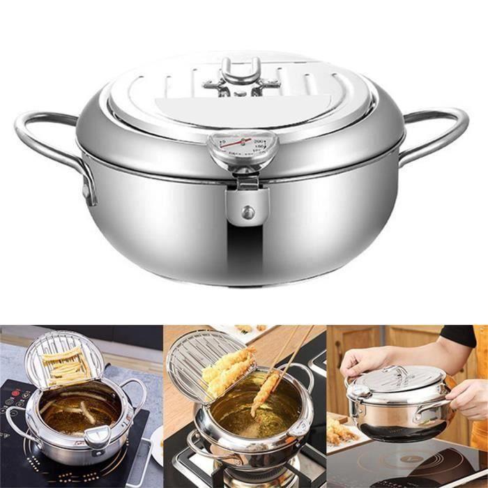 Poêle à frire profonde en acier inoxydable Friteuse avec contrôle de thermomètre Poêle à frire antiadhésive pour cuisine