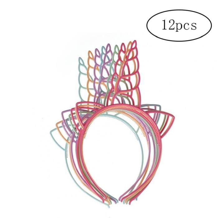 Lot de 12 plastique Unicorn Bandeaux pour les filles Ados Tout-petits enfants Bandeaux Party (couleur claire)