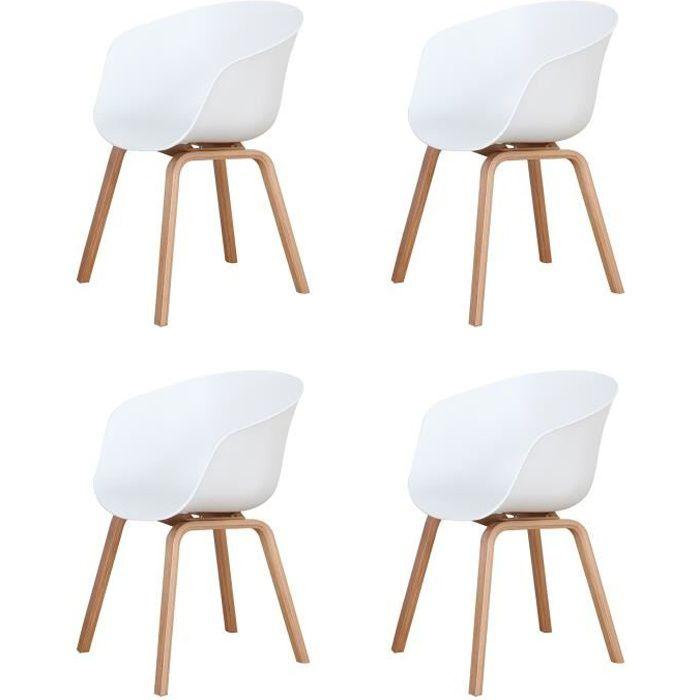BenyLed Lot de 4 Chaises de Salle à Manger Scandinave Design Rétro Chaise avec Pieds en Bois de Chêne et Assise en PP, Blanc