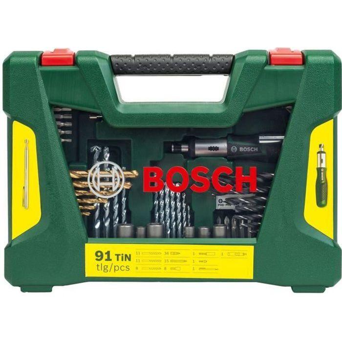 Coffret d'accessoires pour le perçage et le vissage V-Line (91 pcs) - BOSCH
