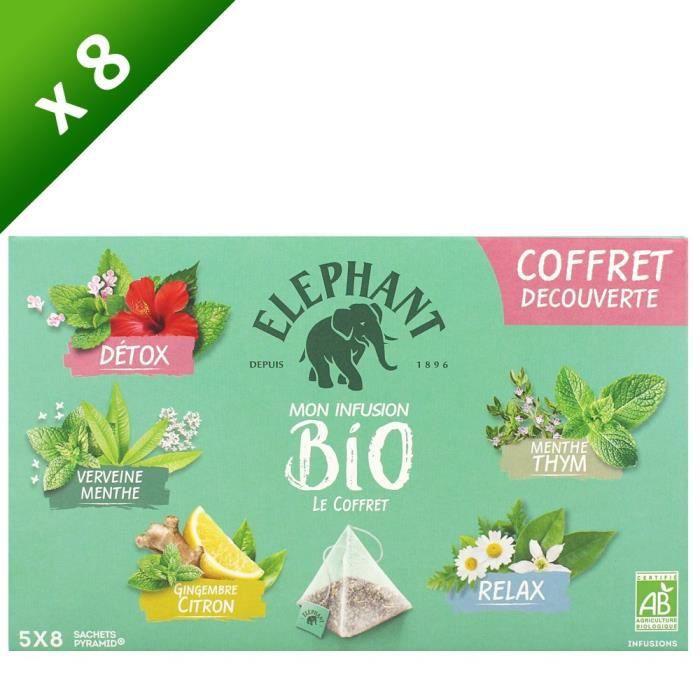 ELEPHANT Tisane Coffret Découverte 5 x 8 sachets - 58 g