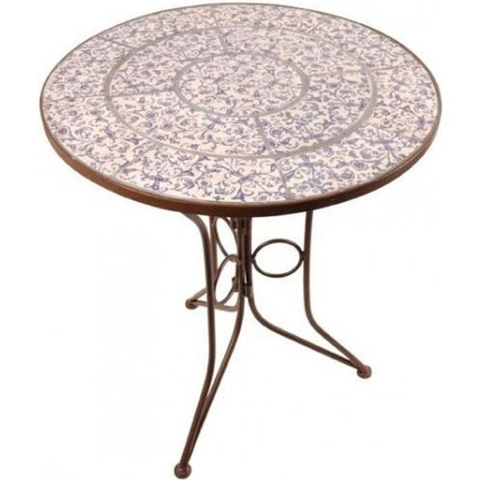 Table de jardin fer forgé et céramique Diam:60cm
