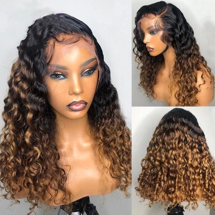 18pouce Perruque Lace Frontal Wig 180% sans colle naturelle Remy cheveux bouclés blond ombré