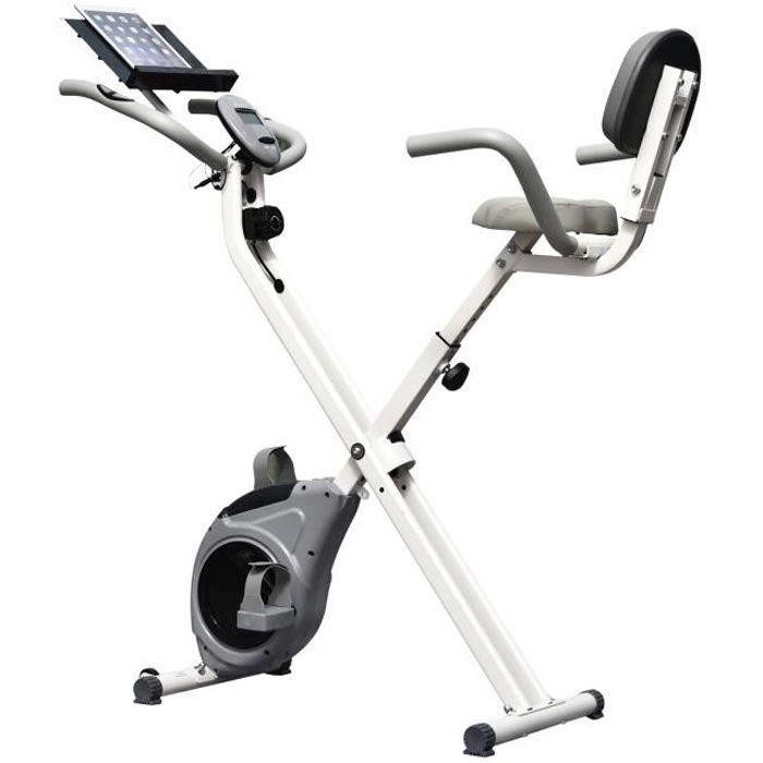 Vélo d'appartement pliable grand confort dossier selle réglable poignées ergonomiques écran LCD multifonction support tablette