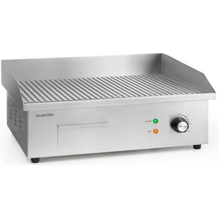 Klarstein Grillmeile 3000R Pro Barbecue électrique 3000W - Plaque de cuisson rainurée 54,5 x 35cm - Inox & fonte