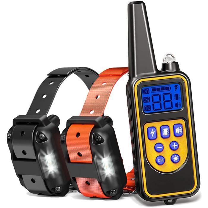 Leytn® Collier de dressage pour chien Collier anti aboiement chien électrique étanche rechargeable avec Télécommande Deux Collier