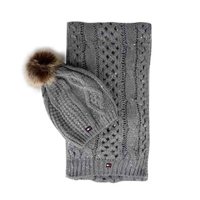 Gant Moufle TOMMY HILFIGER GQ4SZ Ensemble bonnet et écharpe à logo
