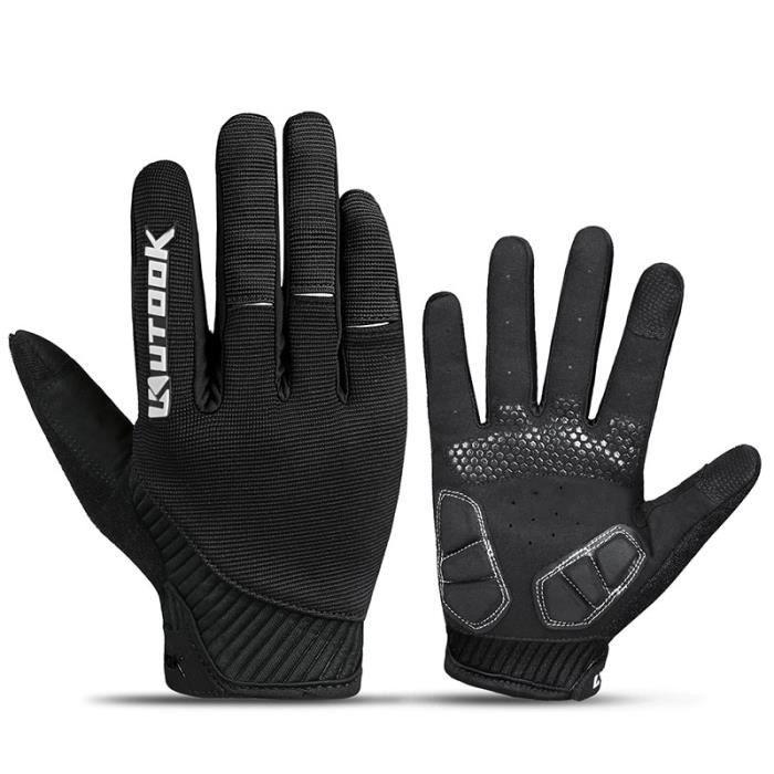 Gants vélo,Gants de Sport en plein air hommes Fitness gants Long doigt hiver coupe vent cyclisme vélo gants vtt route - Type Black