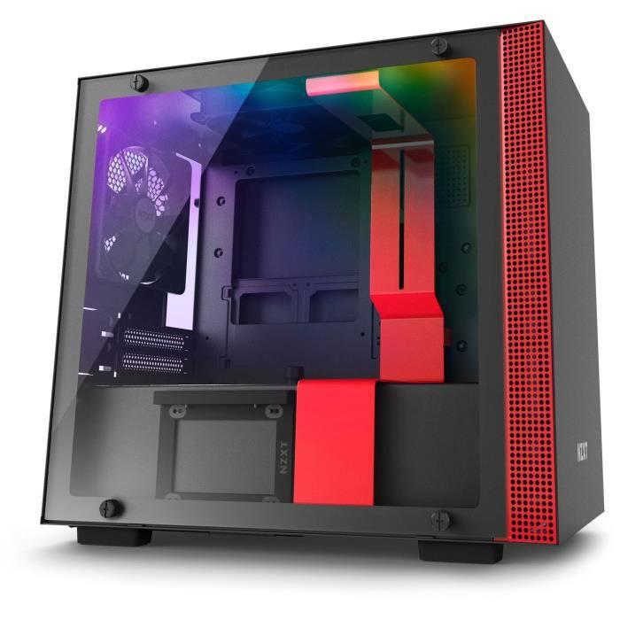 NZXT Boîtier PC Smart H200i - Mini-ITX - Smart Device - Panneau en verre trempé - Noir et rouge