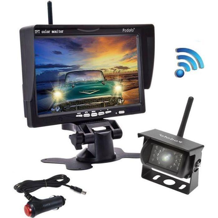 Podofo Nouvelle Caméra de Recul Sans Fil 7 Pouces HD LCD Ecran+Caméra de Voiture Etanche+Allume-cigare pour Camion RV Bus Remorque