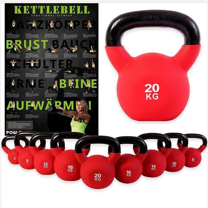 Kettlebell en fonte revêtue de néoprène de 2 kg - 20 kg + Affiche d´entraînement Poids: 2 kg