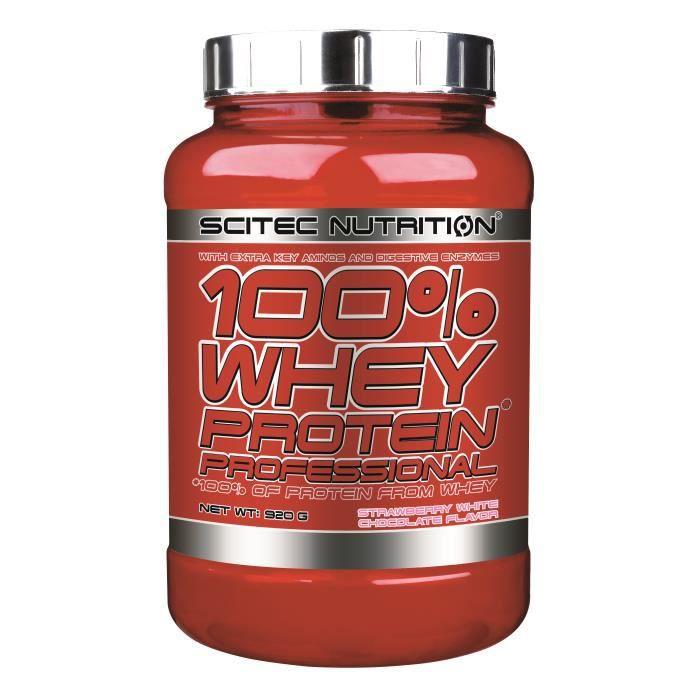 100% Whey Proteine Professional Fraise Choco Blanc 920g Scitec