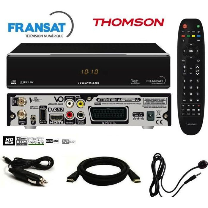 Pack récepteur Thomson THS805 HD + Carte Fransat + Câble 12V + Déport IR + Câble HDMi Offert - decodeur demodulateur satellite