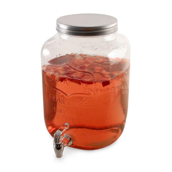 Distributeur de boisson en verre 8L Autres Blanc