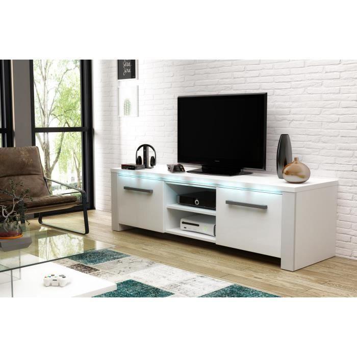 VIVALDI Meuble TV - MANHATTAN - 140 cm - blanc mat / blanc brillant avec LED - style moderne