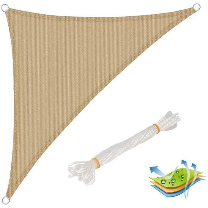 WOLTU Voile d'ombrage triangulaire en HDPE,protection contre le soleil avec protection UV pour jardin-terrasse, 3x3x4.25 m, Sable
