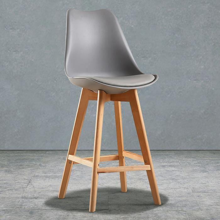 simili de pieds Bar En avec Tabouret Bois 6 de Gris chaises Bar de PU Lot Massif Scandinaves K15uTFclJ3