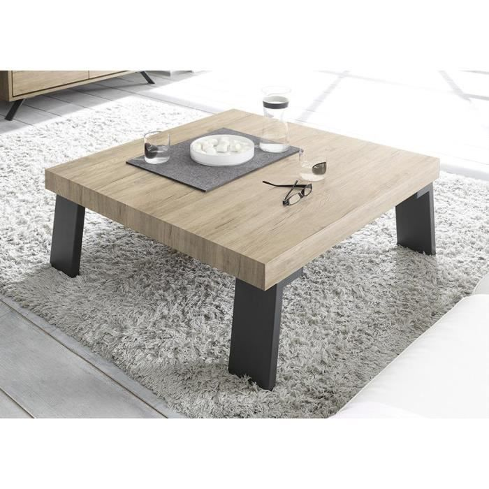 Table basse ch ne clair mallorca pieds en m tal 86 cm for Table de salon en chene