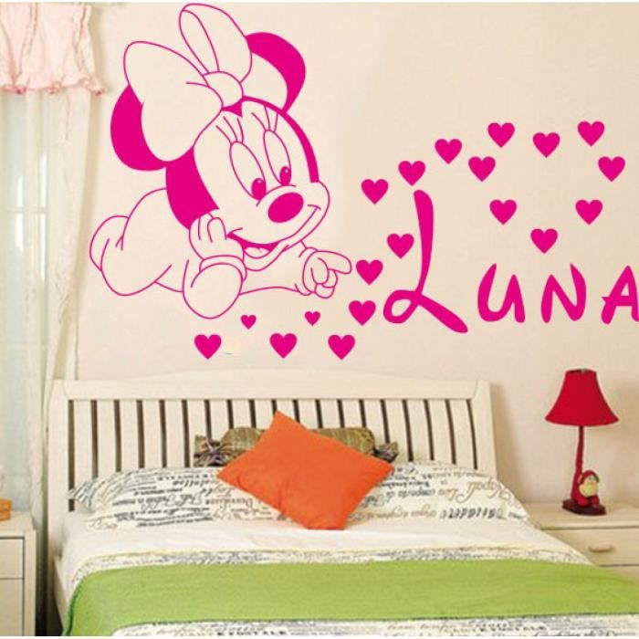 d coration loisirs cr atifs mignon mickey minnie b b personnalis enfants nom b b pour enfants. Black Bedroom Furniture Sets. Home Design Ideas