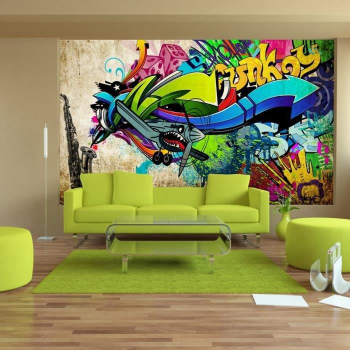 papier peint intiss graffiti 350x245 cm 7 l s achat vente papier peint cdiscount. Black Bedroom Furniture Sets. Home Design Ideas