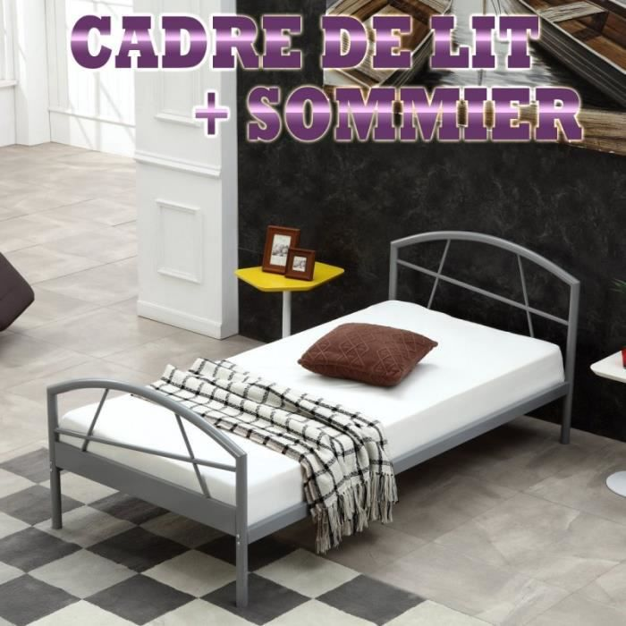 cadre de lit susi m tallique 90 x 200cm sommier int gr achat vente structure de lit cadre. Black Bedroom Furniture Sets. Home Design Ideas