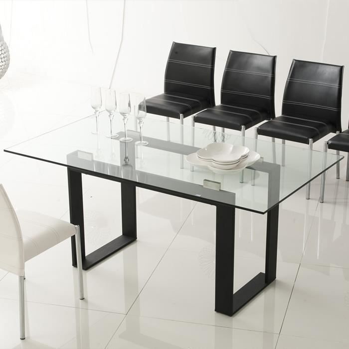 Table manger design noire en verre spella achat for Table a manger noir