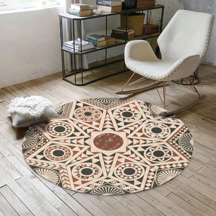 Tapis ethnique rond φ160cm tapis berbere tapis géométrique pour chambre  salon beige - Cdiscount Maison