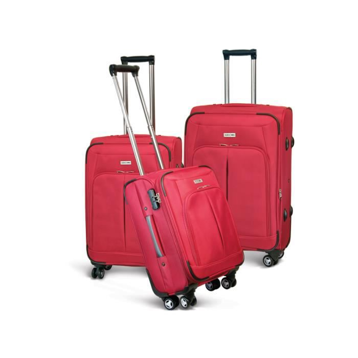 bagage kinston lot de 3 valise tissu 4 roues rouge rouge achat vente set de valises bagage. Black Bedroom Furniture Sets. Home Design Ideas