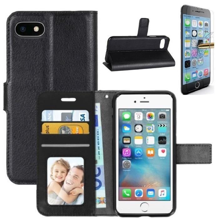 coque iphone 6 6s rabat portefeuille noir verre