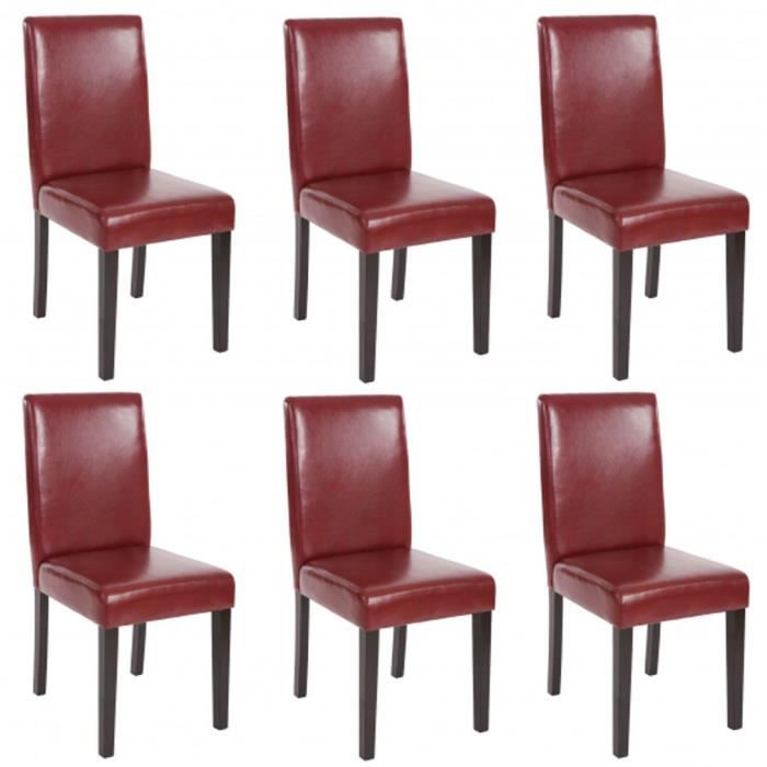 lot de 6 chaises de salle manger fauteuil li achat vente chaise pu cdiscount. Black Bedroom Furniture Sets. Home Design Ideas