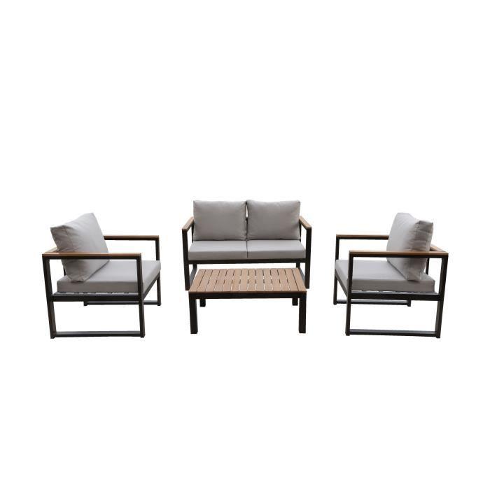 Salon de jardin en métal et bois d\'eucalyptus 4 personnes ALAO noir et bois  avec coussins gris clairs