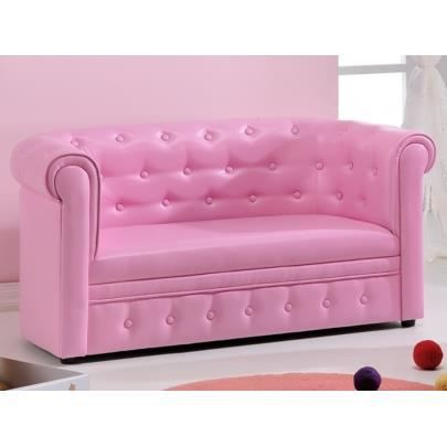 canap pour enfant chesterfield tito simili rose achat. Black Bedroom Furniture Sets. Home Design Ideas