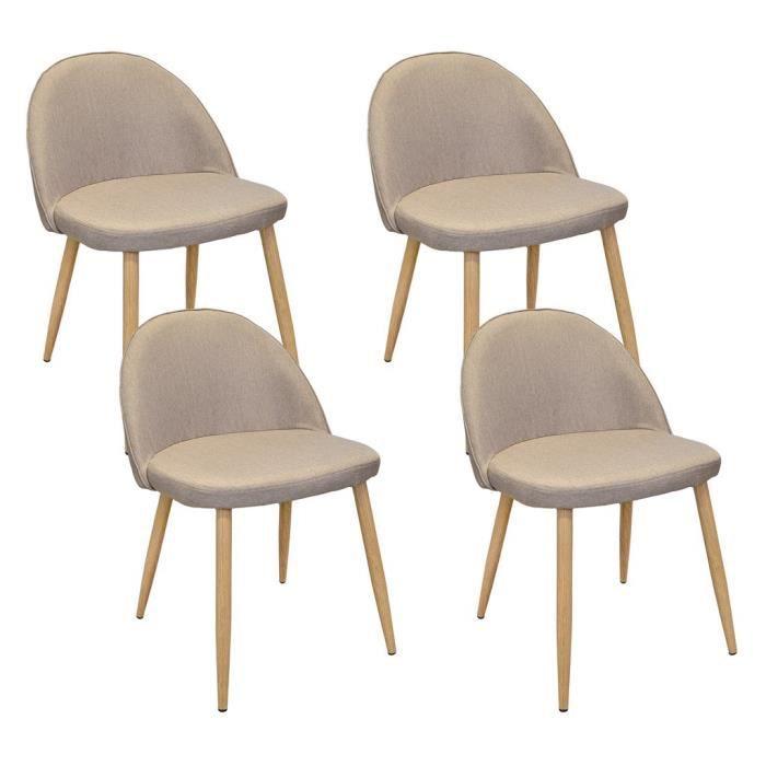 de 44 Avec Pieds Foncé Lot En 4 MONA Beige chaises En Métal D92WEHIY