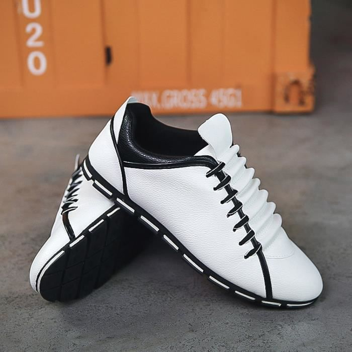 Confortable Sneakers WE843 Hommes Plates Style Chaussures blanc Casual Cuir Nouveau Mode Respirant q7AX1U
