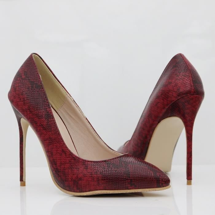 Escarpin Blanc 8.5 Rétro serpent bout fermé Pointue peau Stiletto Talons Party Dress Chaussures