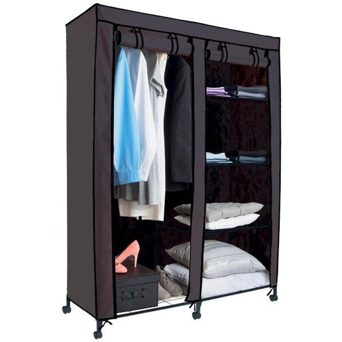 Armoire De Chambre Avec Penderie armoire de rangement avec penderie grise - achat / vente