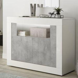 BUFFET - BAHUT  Petit bahut 110 cm blanc et couleur béton gris mod