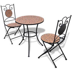SALON DE JARDIN  Ensemble Table et 2pcs Chaises motif mosaïque pour