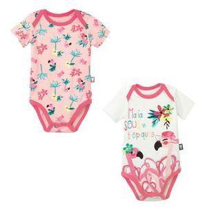BODY Lot de 2 bodies bébé fille manches Miss Pinky