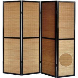 PARAVENT Paravent en bois noir et bambou de 4 pans