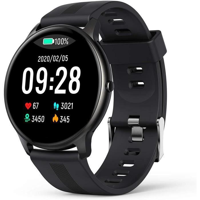 AGPTEK Montre Connectée Homme, Smartwatch Bluetooth 5.0 Sport Etanche IP68 Bracelet Connecté Fitness avec Tensiometre Fréquence Card