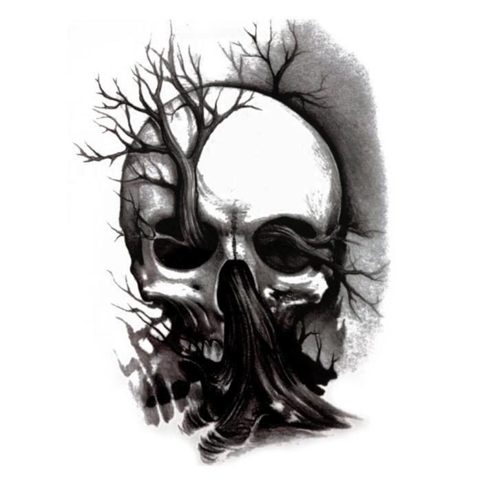 Tatouage faux tete de mort - Arbe de vie