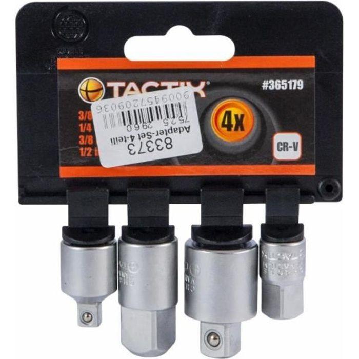 Jeu de 4 adaptateurs pour clés à douille TACTIXJeu composé de :1 adaptateur 1-4- x 3-8-1 adaptateur 3-8- x 1-4-1