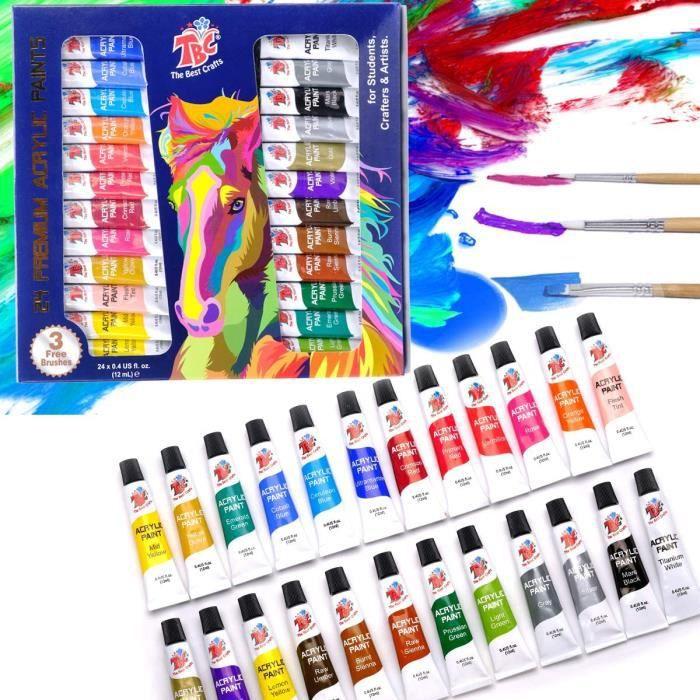 TBC The Best Crafts Lot de 24 peintures acryliques 24 x 12 ml de pigments pour enfants, adultes, filles, gar&ccedilons, &eacute537